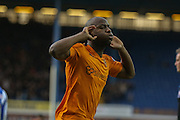 Wolverhampton Wanderers striker Benik Afobe scores the penalty during the Sky Bet Championship match between Sheffield Wednesday and Wolverhampton Wanderers at Hillsborough, Sheffield, England on 20 December 2015. Photo by Simon Davies.