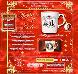 © under license to London News Pictures. 12/04/11. A cheeky 'Will & Kate' Royal Wedding souvenir with Prince Harry's photograph in place of Prince William is for sale on the internet. The site which encourages buyer to 'purchase now to avoid disspointment'  describes the 'beautiful cup' as being 'crafted form the finest bone china'. The legend on the reverse of the commemorative mug reads 'The fairytale romantic union of all the centuries. 29 April 2011'. A website ran by Guandong Enterprises, a British company, who are promoting the item on their site does go on to state that 'this is a novelty piece of memorabilia' which is not approved by the royal family. Picture credit should read: LNP