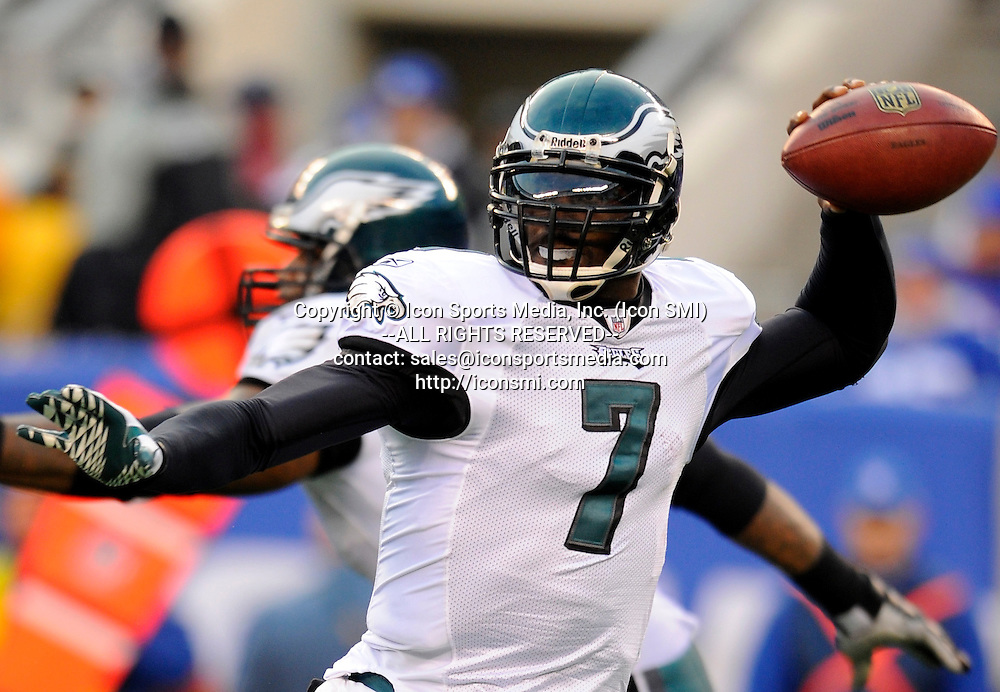 19 December 2010: Philadelphia Eagles quarterback Michael Vick (7) drops back to pass during the second half of the game at  the New Meadowlands Stadium in East Rutherford, NJ. The Eagles defeated the Giants 38-31.