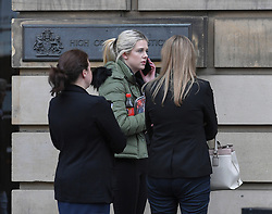 Pictured: Mikayla's mother Shannon Davies (blonde hair, green jacket) outside Court.<br /> <br /> The trial of Thomas Haining (20) from Grantown on Spey, who is accused of murdering his three-week-old daughter Mikayla Haining by striking her on the head and body at her home in Inverness, has ben adjourned at the High Court in Edinburgh.<br /> <br /> © Dave Johnston / EEm