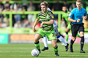 Forest Green Rovers Kyle Taylor(28),on loan from Bournemouth on the ball during the EFL Sky Bet League 2 match between Forest Green Rovers and Colchester United at the New Lawn, Forest Green, United Kingdom on 14 September 2019.