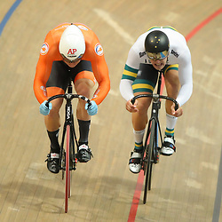 03-03-2019: WK wielrennen: Baan: Pruszkow <br />- Cycling - UCI Track Cycling World Championships presented by Tissot - Velodrome BGZ Arena, Pruszkow, Poland - Jeffery Hoogland and Matthew Glaetzer of Australia race the Men's Sprint.