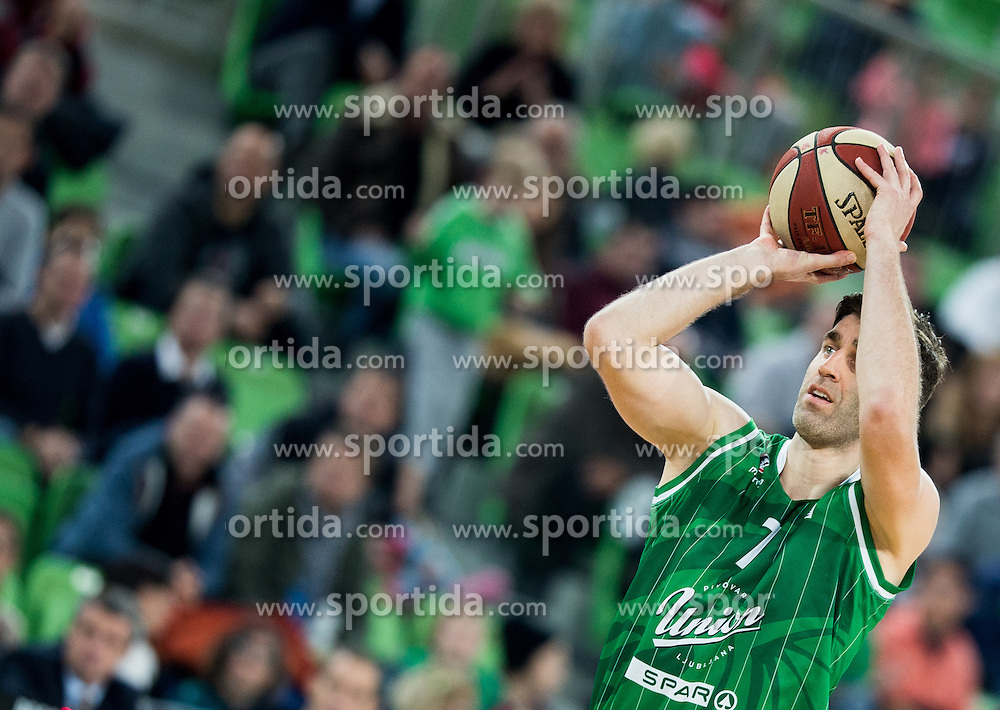 Drazen Bubnic #7 of KK Union Olimpija during basketball match between KK Union Olimpija Ljubljana and KK mega Leks in 14th Round of ABA League 2016/17, on December 18, 2016 in Arena Stozice, Ljubljana, Slovenia. Photo by Vid Ponikvar / Sportida