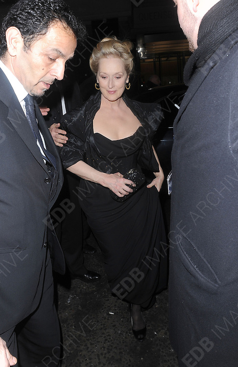 12.FEBRUARY.2012. LONDON<br /> <br /> MERYL STREEP AT THE WEINSTEIN COMPANY AND ENTERTAINMENT FILM DISTRIBUTION POST BAFTA EVENT AT THE LE BARON, EMBASSY CLUB, LONDON<br /> <br /> BYLINE: EDBIMAGEARCHIVE.COM<br /> <br /> *THIS IMAGE IS STRICTLY FOR UK NEWSPAPERS AND MAGAZINES ONLY*<br /> *FOR WORLD WIDE SALES AND WEB USE PLEASE CONTACT EDBIMAGEARCHIVE - 0208 954 5968*
