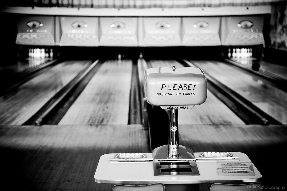 Bowling alley in Pioneer Town, CA.