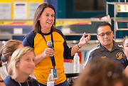 Staff members ask Superintendent Richard Carranza questions during a stop of his Listen & Learn Tour of the district at Memorial Elementary School, September 16, 2016.