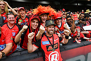 17th February 2019, Marvel Stadium, Melbourne, Australia; Australian Big Bash Cricket League Final, Melbourne Renegades versus Melbourne Stars; Dan Christian of the Melbourne Renegades celebrates their win with fans