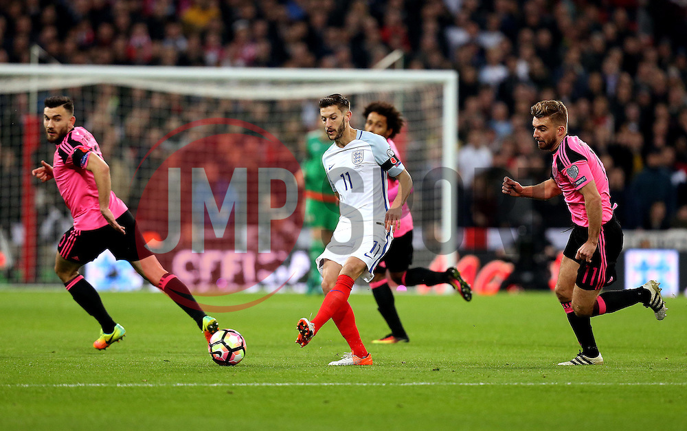 Adam Lallana of England takes on 3 Scotland defenders - Mandatory by-line: Robbie Stephenson/JMP - 11/11/2016 - FOOTBALL - Wembley Stadium - London, United Kingdom - England v Scotland - European World Cup Qualifiers