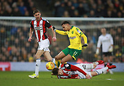 Norwich City's Josh Murphy and Sheffield United's Lee Evans during the EFL Sky Bet Championship match between Norwich City and Sheffield Utd at Carrow Road, Norwich, England on 20 January 2018. Photo by John Marsh.