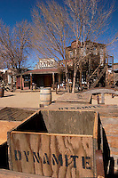 Dynamite Box in Old Wagon with Bank and Hotel Bath House Buildings in Background, Pioneertown, California