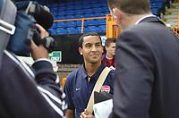 Photo: Jonathan Butler.<br /> Barnet v Arsenal. Pre Season Friendly. 14/07/2007.<br /> Theo Walcott of Arsenal enjoys being back in the media spot light.