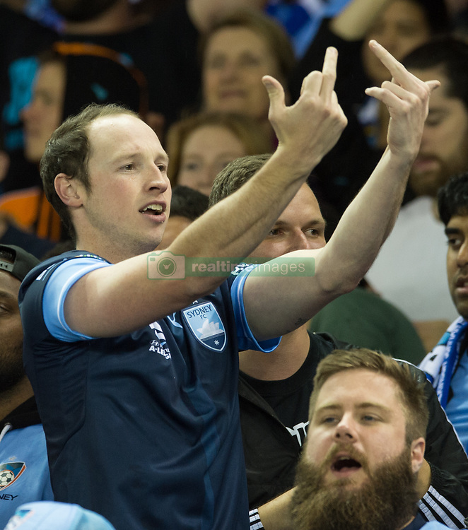 October 7, 2017 - Melbourne, Victoria, Australia - A Sydney FC fan taunts the Melbourne Victory fans in during the round 1 match between Melbourne Victory and Sydney FC at Etihad Stadium in Melbourne, Australia during the 2017/2018 Australian A-League season. (Credit Image: © Theo Karanikos via ZUMA Wire)