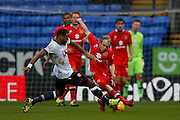 Bolton Wanderers midfielder Liam Trotter tackles MK Dons midfielder, on loan from Crystal Palace, Jonny Williams  during the Sky Bet Championship match between Bolton Wanderers and Milton Keynes Dons at the Macron Stadium, Bolton, England on 23 January 2016. Photo by Simon Davies.