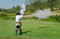 Colonial American reenactment. Fort Necessity National Battlefield Pennsylvannia