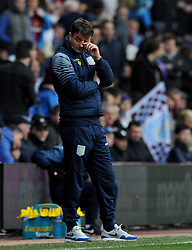 Dejection for Aston Villa Manager, Tim Sherwood  - Photo mandatory by-line: Harry Trump/JMP - Mobile: 07966 386802 - 21/03/15 - SPORT - FOOTBALL - Barclays Premier League - Aston Villa v Swansea City - Villa Park, Birmingham, England.
