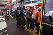 8 September 2009, The Bus Rapid Transport (BRT) System in Johannesburg commenced operation in August 2009 under threat of violence from the Taxi Associations in and around Johannesburg. Commuters making use of the service in the centre of the Johannesburg CBD