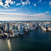 Aerial view of Brickell Avenue, Miami waterfront looking northwest from Biscayne Bay in the afternoon