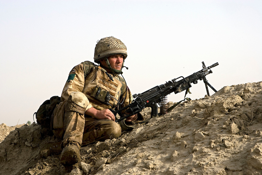 British soldiers of 3rd Battalion The Parachute Regiment on a desert patrol after an airborne assault as part of Operation 'Southern Beast'. Kandahar Province, Afghanistan on the 4th of August 2008.
