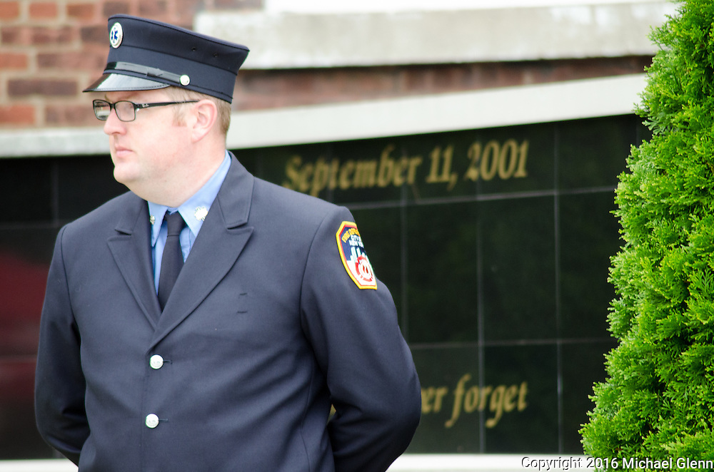 Sept 11, 2016, Bayside, NYC //  FDNYEMS gathers at Fort Totten for the 15th memorial for members killed in the 9/11 attacks  //  Michael Glenn/ Glenn Images