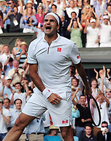 Tennis - 2019 Wimbledon Championships - Week Two, Friday (Day Eleven)<br /> <br /> Men's Singles, Semi-Final: Rafael Nadal (ESP) v Roger Federer (SUI)<br /> <br /> Roger Federer celebrates winning match point on Centre Court.<br /> <br /> COLORSPORT/ANDREW COWIE