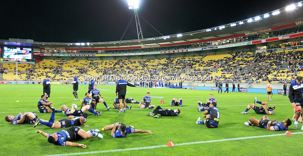 Bulldogs players ward up, prior to kick off during the Round 7 NRL match, Canterbury-Bankstown Bulldogs v Vodafone Warriors at Westpac Stadium, Wellington. 16th April 2016. Copyright Photo.: Grant Down / www.photosport.nz