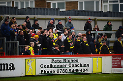 TRAVELING HARROGATE FANS IN FINE SONG, Brackley Town v Harrogate Town Vanarama National League North, St James Park Good Friday 30th March 2018, Score 0-0.