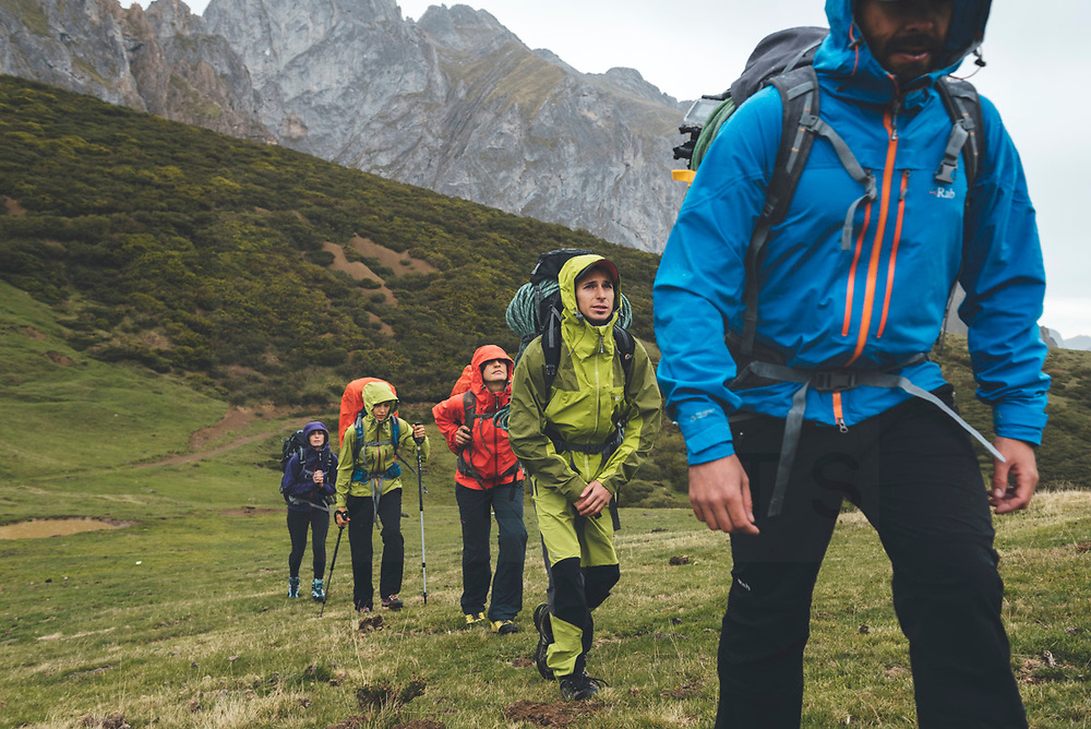Spanish Rab Team during a backpacking activity in Collado Jermoso, Picos de Europa National Park, Spain