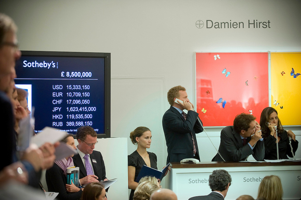 UK. London. Damien Hirst's ' Beautiful Inside My Head' auction at Sotheby's in London. Dimien Hirst set a record when a buyer paid £10,345,250.00 for his 'The Golden Calf'. It is estimated that he made over £100,000,000 from the two day sale..Photo©Steve Forrest