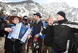 Fans at Flying Hill Team in 3rd day of 32nd World Cup Competition of FIS World Cup Ski Jumping Final in Planica, Slovenia, on March 21, 2009. (Photo by Vid Ponikvar / Sportida)