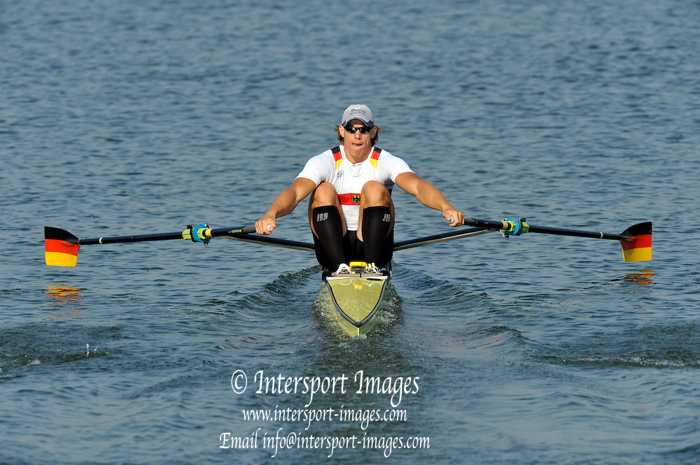Brest, Belarus.  GER M1X,Karl SCHULZE, competing in the Semi Finals at the 2010. FISA U23 Championships. Saturday,  24/07/2010.  [Mandatory Credit Peter Spurrier/ Intersport Images]