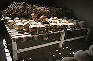 Skulls and bone on display at the Murambi Genocide Memorial Centre, at the site of the former Murambi Technical School where some 45,000 Tutsi were murdered  during the Rwandan Genocide.