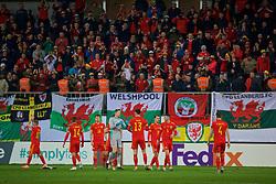 BAKU, AZERBAIJAN - Saturday, November 16, 2019: Wales' goalkeeper Wayne Hennessey (L) and Kieffer Moore celebrate after the UEFA Euro 2020 Qualifying Group E match between Azerbaijan and Wales at the Bakcell Arena. Wales won 2-0. (Pic by David Rawcliffe/Propaganda)