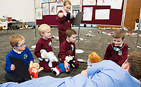 18/01/2018 Ethan Donoghues Newcastle Athenry with Fionn Mulrooney, Josh O'Neil , Ava Walsh, Aaron Nally and their Teddys from Corandulla National School at the Teddy Bear Hospital at NUI Galway with 3rd year Medical Student David O'Sullivan from Galway. Students get used to dealing with Kids and Kids get a Hospital experience with a difference. Photo:Andrew Downes, XPOSURE