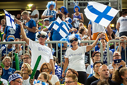 Finland supporters during volleyball match between National teams of Slovenia and Finland in 2nd Round in Group C of 2019 CEV Volleyball Men's European Championship in Ljubljana, on September 14, 2019 in Arena Stozice. Ljubljana, Slovenia. Photo by Grega Valancic / Sportida