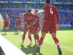 CARDIFF, WALES - Saturday, April 20, 2019: Liverpool's Georginio Wijnaldum celebrates scoring the first goal during the FA Premier League match between Cardiff City FC and Liverpool FC at the Cardiff City Stadium. (Pic by David Rawcliffe/Propaganda)