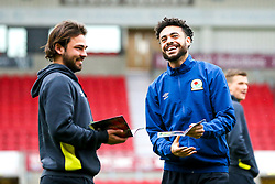 Bradley Dack and Derrick Williams of Blackburn Rovers arrive at Doncaster Rovers - Mandatory by-line: Robbie Stephenson/JMP - 24/04/2018 - FOOTBALL - The Keepmoat Stadium - Doncaster, England - Doncaster Rovers v Blackburn Rovers - Sky Bet League One