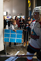 KELOWNA, CANADA - DECEMBER 30: A young fan high fives the Kelowna Rockets' as they walk to the ice against the Victoria Royals on December 30, 2017 at Prospera Place in Kelowna, British Columbia, Canada.  (Photo by Marissa Baecker/Shoot the Breeze)  *** Local Caption ***
