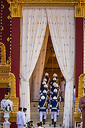 "04 FEBRUARY 2013 - PHNOM PENH, CAMBODIA:   The Cambodian Honor Guard marches into the crematorium during the cremation of King-Father Norodom Sihanouk in Phnom Penh. Norodom Sihanouk (31 October 1922 - 15 October 2012) was the King of Cambodia from 1941 to 1955 and again from 1993 to 2004. He was the effective ruler of Cambodia from 1953 to 1970. After his second abdication in 2004, he was given the honorific of ""The King-Father of Cambodia."" Sihanouk died in Beijing, China, where he was receiving medical care, on Oct. 15, 2012.  PHOTO BY JACK KURTZ"