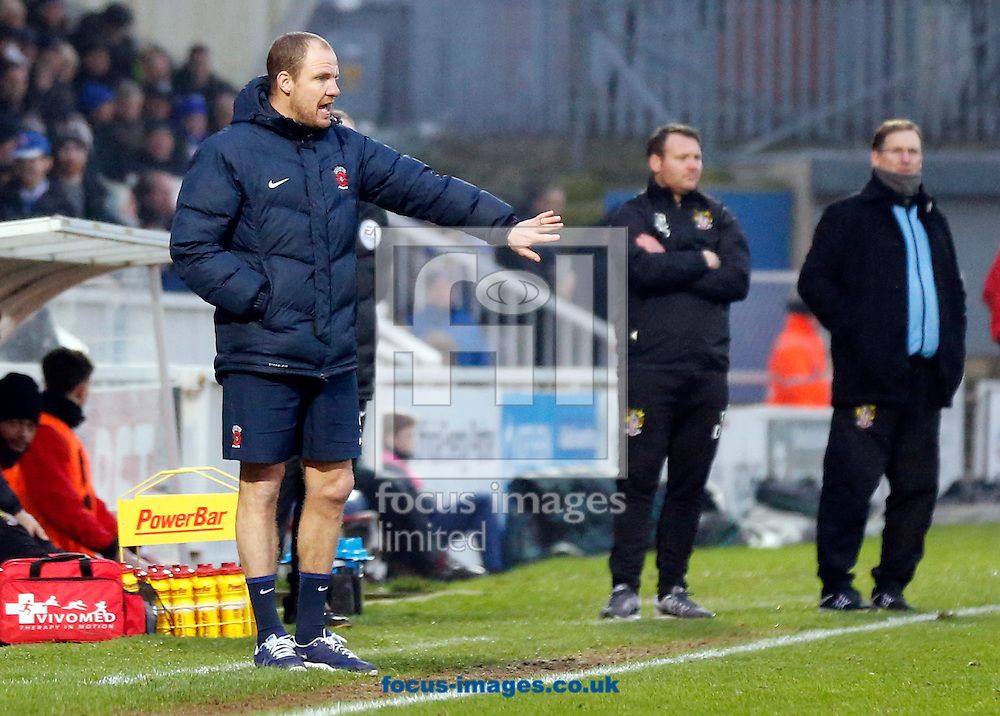 Temporary Hartlepool United manager Sam Collins (l), Stevenage manager Darren Sarll (c) and managerial advisor Glenn Roeder (r) during the Sky Bet League 2 match at Victoria Park, Hartlepool<br /> Picture by Simon Moore/Focus Images Ltd 07807 671782<br /> 21/01/2017