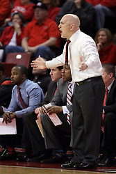 17 January 2015:  Geno Ford can't believe the action during an NCAA MVC (Missouri Valley Conference men's basketball game between the Bradley Braves and the Illinois State Redbirds at Redbird Arena in Normal Illinois