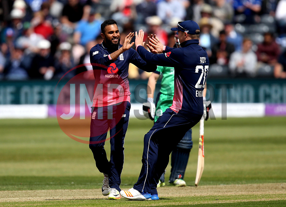 Adil Rashid of England celebrates taking the wicket of Stuart Thompson of Ireland - Mandatory by-line: Robbie Stephenson/JMP - 05/05/2017 - CRICKET - Brightside County Ground - Bristol, United Kingdom - England v Ireland - Royal London One Day Cup