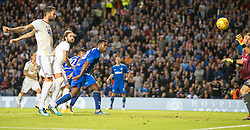 Rangers' Lassana Coulibaly scores his sides third goal during the UEFA Europa League third qualifying round, first leg match at Ibrox, Glasgow.