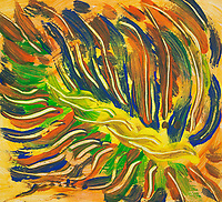 Colorful converging lines on yellow background abstract image with central rope like pattern and bended lines in tones of green, blue, yellow and orange colors, with nuances.
