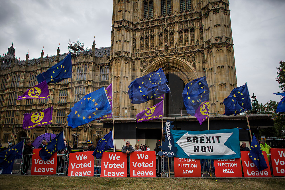 © Licensed to London News Pictures. 09/09/2019. London, UK. Pro and Anti Brexit demonstrators gather at Parliament in Westminster, London. British Prime Minister Boris Johnson os expected to prorogue Parliament this evening, in the run up to Britain's planned Brexit deadline of October 31st. Photo credit: Ben Cawthra/LNP