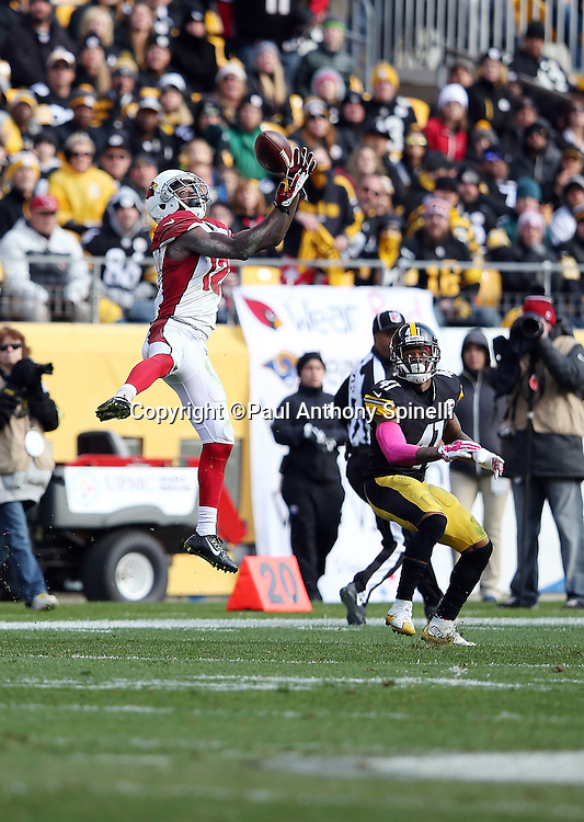 Arizona Cardinals wide receiver John Brown (12) leaps and catches a pass while covered by Pittsburgh Steelers cornerback Antwon Blake (41) during the 2015 NFL week 6 regular season football game against the Pittsburgh Steelers on Sunday, Oct. 18, 2015 in Pittsburgh. The Steelers won the game 25-13. (©Paul Anthony Spinelli)