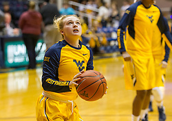Jan 30, 2016; Morgantown, WV, USA; West Virginia Mountaineers guard Olivia Seggie (3) warms up prior to their game against the Baylor Bears at WVU Coliseum. Mandatory Credit: Ben Queen-USA TODAY Sports