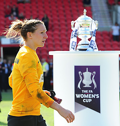 Bristol Academy's Siobhan Chamberlain   walks past the FA Cup - Photo mandatory by-line: Joseph Meredith/JMP - Tel: Mobile: 07966 386802 - 26/05/2013 - SPORT - FOOTBALL - Keepmoat Stadium - Doncaster . Arsenal Ladies v Bristol Academy WFC - The FA Women's Cup.