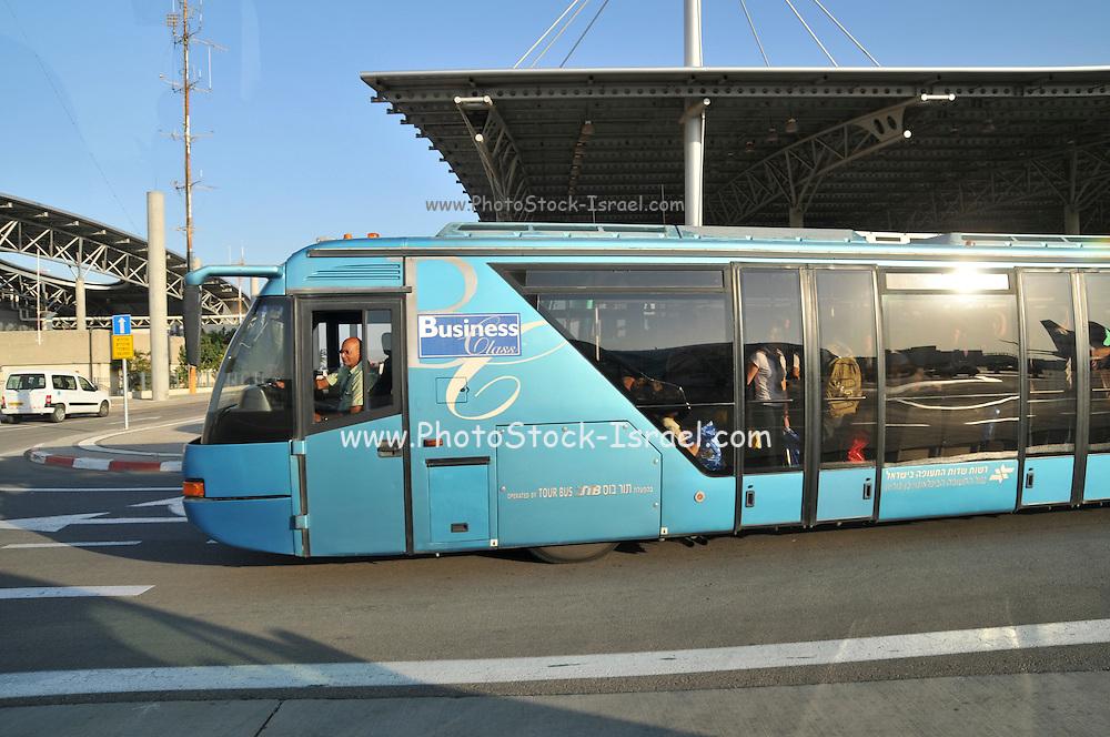 Israel, Ben-Gurion international Airport Bus transport passengers from terminal to boar plane