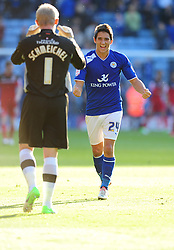Leicester City's Kasper Schmeichel celebrates Leicester City's win on the final whistle with Leicester City's Anthony Knockaert - Photo mandatory by-line: Joe Meredith/JMP  - Tel: Mobile:07966 386802 06/10/2012 - Leicester City v Bristol City - SPORT - FOOTBALL - Championship -  Leicester  - King Power Stadium