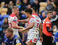 Regan Grace (C) of St Helens celebrates scoring the try against Warrington Wolves  with his team mates during the Betfred Super League Super 8s match at the Halliwell Jones Stadium, Warrington<br /> Picture by Stephen Gaunt/Focus Images Ltd +447904 833202<br /> 22/09/2018